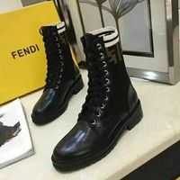 FENDI Women Fashion Knitting Wool Leather Boots Shoes