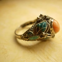 Vintage Chinese enamel and Coral sterling ring by vintagesparkles