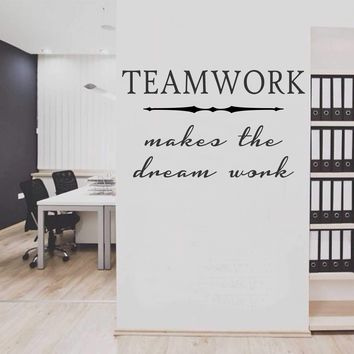 Teamwork Makes the Dream Work Decal | Office Wall Quote | Vinyl Wall Lettering