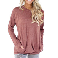 Solid Color Round Neck Bat Long Sleeve T-Shirt