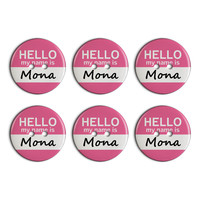 Mona Hello My Name Is Plastic Resin Button Set of 6