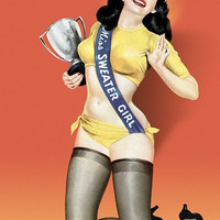 Pin Up Girl Miss Sweater Girl Pinup With Poster