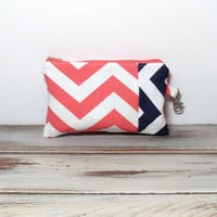 Chevron Phone Wallet - Coral Navy Chevron - Change Purse - Zipper Pouch - Coin Purse - Money Wallet