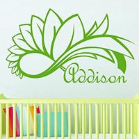 Wall Decal Girl Name Infinity Sign Flower Sticker Personalized Name Nursery Baby Kids Custom Name Vinyl Sticker Decals Home Decor Art Bedroom Design Interior C528