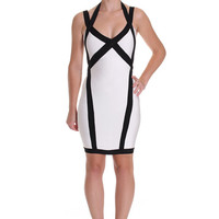 Sexy Black & White Aristic Bandage Dress, Knit Stretch Dress, Women's MODERN Dress, Club Wear, Cocktail Dress
