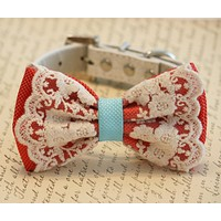 Coral and blue wedding Coral Dog Bow Tie, Pet beach wedding