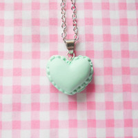 Macaron Necklace, Macaroon Necklace, Heart Macaron, Heart Macaroon, Food Necklace, Pretty Necklace, Cute Necklace, Mint Green, Pastel