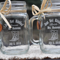 Cowboy Wedding Table Setting -  Just Got Hitched - Personalized Bride and Groom Toasting Glasses