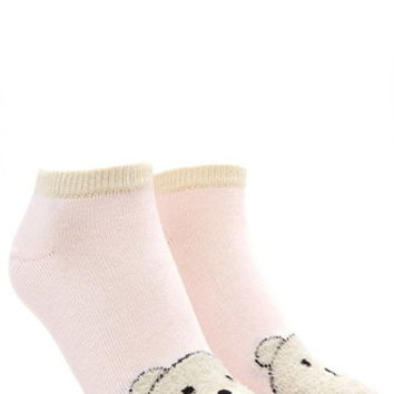 Fuzzy Bear Ankle Socks