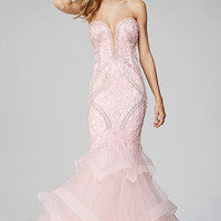 Jovani 31551 In Stock Pink Size 6 Mermaid Pageant Gown Prom Dress