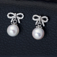 Sweet lovely butterfly zircon pearl 925 sterling silver earrings,a personalized gift