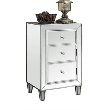 """Accent Table - 29""""H / Brushed Silver / Mirror"""