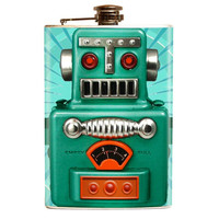 Retro Atomic Toy Robot DRINK BOT 2000 Flask