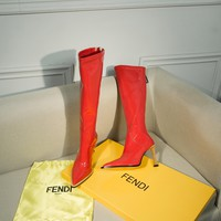 FENDI womens 2020 new office Logo-embossed leather Fashion Sports Elastic Stocking Ankle Short Boots high heels shoes red