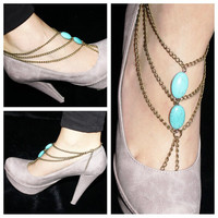 SL047 factory direct European and American trade fashion hand-beaded turquoise toe anklet anklets and even multi- fringed