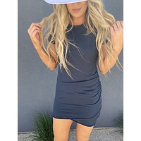 Everyday Ruched Tee Dress (Navy)