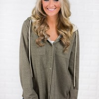 Lace Up Light Olive Hoodie