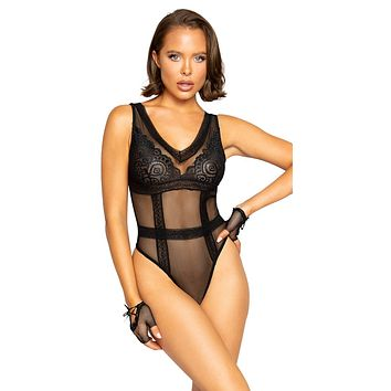 Sexy Woah Patterned Lace and Sheer Mesh Teddy