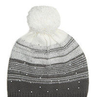 FOREVER 21 GIRLS Abstract-Striped Rhinestone Beanie (Kids) Grey/Cream One