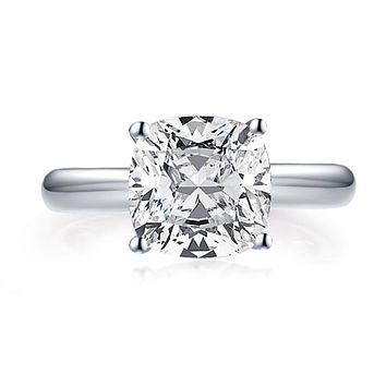 A Flawless 14K White Gold 3CT Cushion Cut Belgium Lab Diamond Engagement Ring