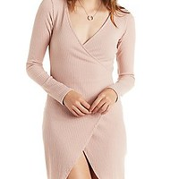ASYMMETRICAL RIBBED PLUNGING BODYCON WRAP DRESS