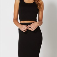 Black Cropped Sweater Tank