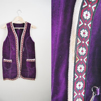 Love Fest - Vintage 60s Purple Suede with Decorative Trim Boho Chic Vest