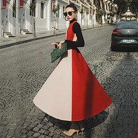 Long Sleeve Vintage Woolen Retro Red A-Line Formal Maxi Dress