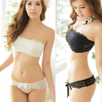 Japanese bra sets Women Sexy Lace Push Up Strapless Chest Wrap Set Four Hook-and-eye Cute Bra Set lingerie bra and thong set