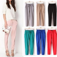 Laamei Women Casual Harem Pants Loose Trousers Women Elastic High Waist Casual Pants Office OL Pants Lady Pants Thin Summer
