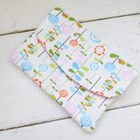 Fabric Wallet, women's wallet, women's gift idea, velcro or snap closure, ready to ship, white wallet, floral print, cute accessory