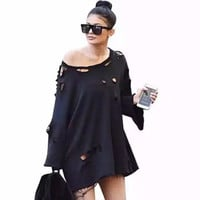 2016 Trending Fashion Gold Women Solid Big Hole Ripped Destroyed Distressed Sweatshirt Jumper Shirt Top Blouse _ 9974
