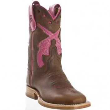 Anderson Bean Cowboy Boots Toast Bison Pink Gun Inlay Square Toe Kids Cowboy Boots