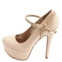 Gold-Plated Heel Harness Mary Jane Pumps by Charlotte Russe - Nude