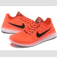 Nike free RN flynit running sneakers Sport Casual Shoes Sneakers Orange black hook
