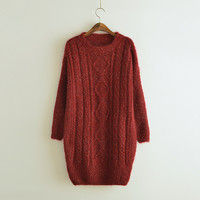 In the long section hedging sweater thick twist