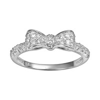 Sophie Miller Sterling Silver Cubic Zirconia Bow Ring (White)