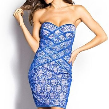 Brylee Electric Blue Strapless Bodycon Lace Mini Dress