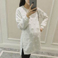 White Maternity Dress Autumn Winter Pregnancy Clothes for Pregnant Women 3D Wave Point Maternity Clothing Plus Maternity Dresses