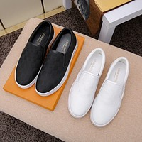 LV Louis Vuitton OFFICE QUALITY Men's Leather Low Top Sneakers Shoes