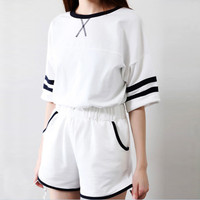 Fashion Casual Multicolo Stitching Stripe Round Neck Short Sleeve Set Two-Piece Sportswear