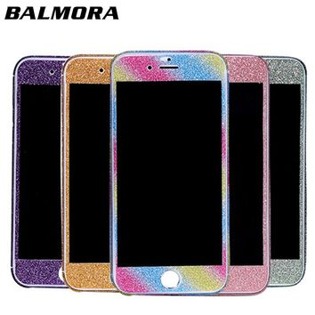 BALMORA 360 Giltter Body Sticker For IPhone 6 6s 7 8 Plus X Phone Screen Protector For Apple Sparkle Full Cover Decal Skin Wrap