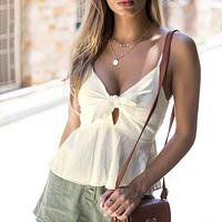 Strap Bow Crop Top Deep V Neck Sexy Short Shirt Backless Ruffle Boho Beach Solid Camis