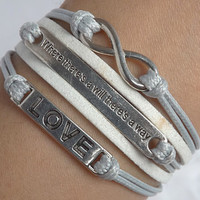 Infinite love of ancient silver - Where there's a will there is a way-waxed thread woven bracelet