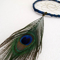 Dream Catcher - Peacock - With Natural Peacock Feather, Hand Painted Dark Blue Frame and Green Nett - Home Decor, Mobile