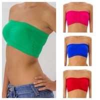 In Style Padded Solid Band Colorful Bandeaus, Tube Tops, Women's Apparel