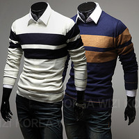 Two Stripes Design Mens Knit Sweater