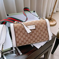 Hipgirls Gucci New Hot Sale Double G Print Stitched Shoulder Bag Crossbody Bag