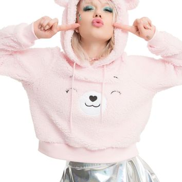 Licensed cool Licensed Care Bears Cheer Bear Sherpa Crop Pink Costume Hoodie Hoody w/ Ears NEW
