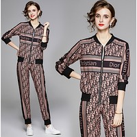 DIOR Women Casual Round Collar Top Pants Set Two-Piece